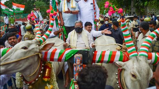 Senior Congress leader Siddaramaiah in Karnataka had arrived at the state assembly in a bullock cart in a protest against the hike in fuel and LPG prices. The Congress continued to protest by riding bicycles. (PTI)