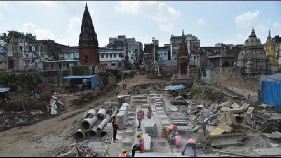 Construction work at the Kashi Vishwanath corridor project site in Varanasi. (HT file photo)