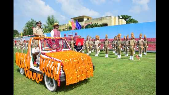 General manager North Central Railways reviewing the parade on Monday (HT photo)