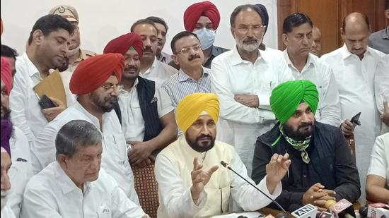 Punjab chief minister Charanjit Singh Channi addresses the media after the oath-taking ceremony at Punjab Bhawan in Chandigarh, Monday. (PTI Photo)
