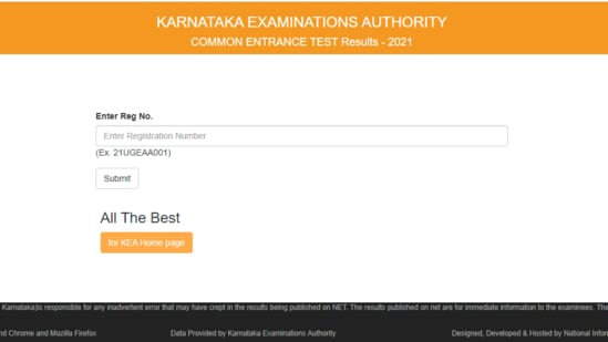 Karnataka KCET results 2021: Candidates who taken the exam can check their results on the official website of KEA at karresults.nic.in.(karresults.nic.in.)