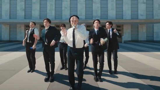 BTS members performed at an empty General Assembly.