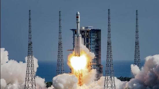 The Long March-7 Y4 carrier rocket, carrying the Tianzhou-3 cargo spacecraft with supplies for China's under-construction space station, takes off from Wenchang Spacecraft Launch Center in Wenchang, Hainan province. (REUTERS)