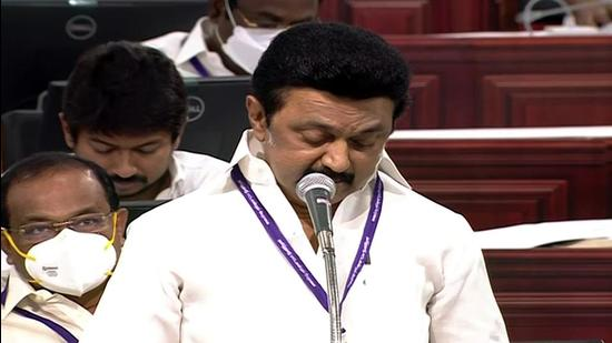 Tamil Nadu chief minister M K Stalin issued admission letters to 50 students of government schools, who would be admitted to the premier Anna University in Chennai under the 7.5% quota. (ANI)