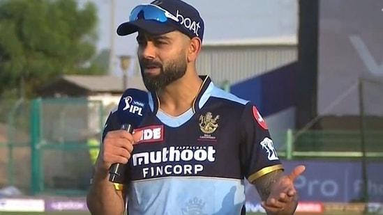 Virat Kohli speaks during the toss.(IPL/Screengrab)
