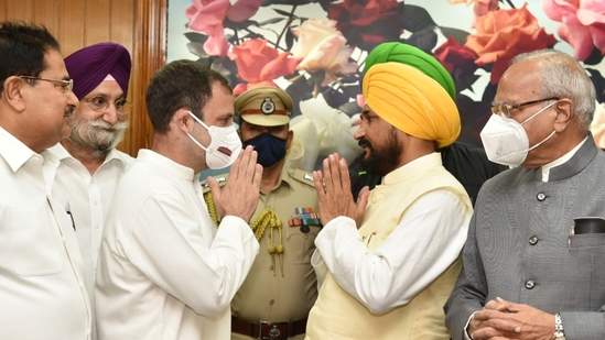 Charanjit Singh Channi (right), who took oath as the chief minister of Punjab on Monday, seen here with Congress leader Rahul Gandhi (left). (Ravi Kumar/HT Photo)