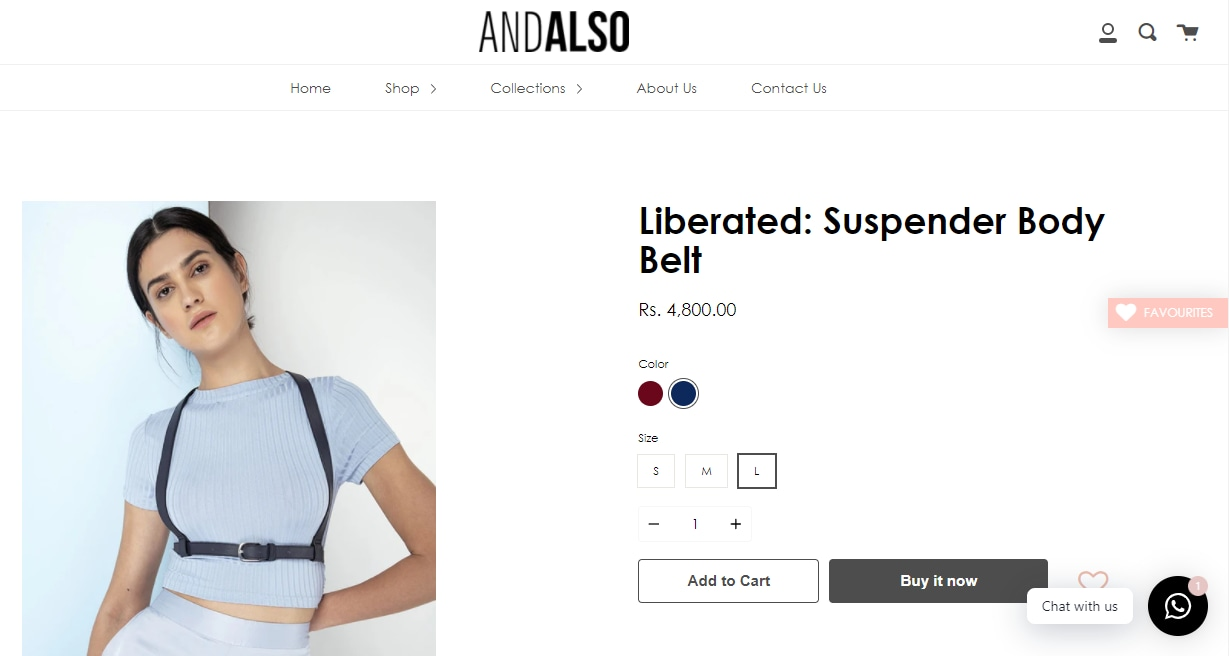 Mrunal Thakur's body belt from And Also(andalsoindia.com)