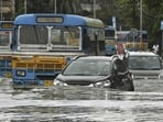 Heavy waterlogging has been reported from several areas in Kolkata following incessant rain since Sunday evening.(PTI)