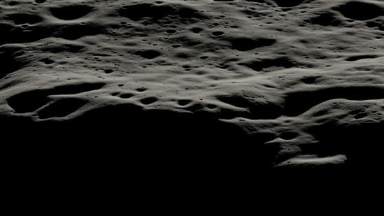 A data visualization showing the mountainous area west of Nobile Crater and the smaller craters that litter its rim at the lunar South Pole.(Nasa)