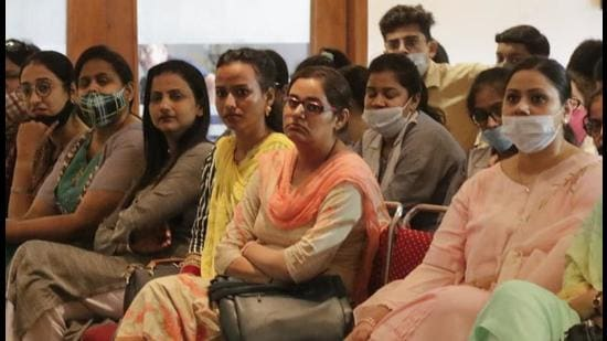 Students and budding journalists attending the seminar on the working of journalists at PCTE College in Ludhiana on Tuesday. (HT Photo)
