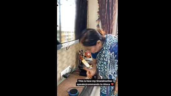 """""""This is how my grandmother speaks/commands to Alexa,"""" says a caption across the video on Instagram.(Instagram/@lifeneedsaholiday)"""