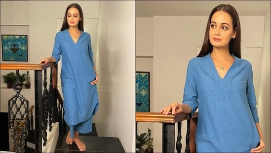 Dia Mirza makes strong summer statement for virtual meetings in blue khadi suit(Instagram/diamirzaofficial)