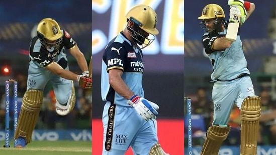 From Left: AB de Villiers, Virat Kohli and Glenn Maxwell endured low scores.(IPL)