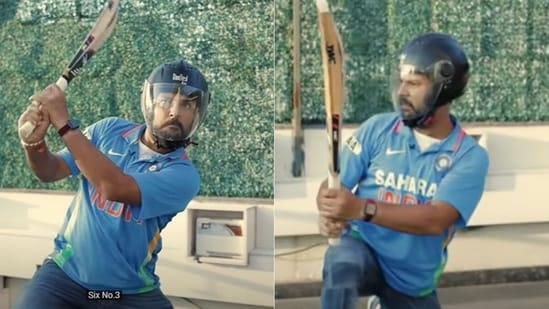 Yuvraj Singh wore 'his helmet' and re-enacted his special feat of hitting 6 sixes in an over.(Screengrab/YouTube)
