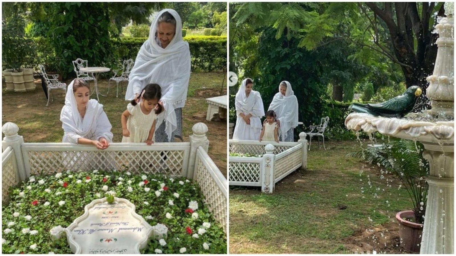 سوہا علی خان نے والدہ اور بیٹی عنایہ کے ساتھ منصور علی خان کی قبر پر حاضری دی