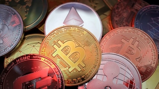 Representations of cryptocurrencies including Bitcoin, Dash, Ethereum, Ripple and Litecoin.(Reuters Photo)