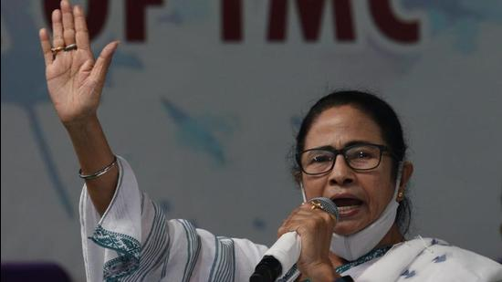 West Bengal chief minister and TMC supremo Mamata Banerjee at her first public meeting for the Bhowanipore assembly by-election at Ekbalpur in Kolkata on Wednesday. (SAMIR JANA/HT PHOTO.)