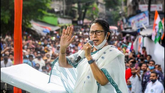 West Bengal chief minister Mamata Banerjee addresses a public meeting during her campaign for Bhabanipur constituency bypoll, in Kolkata on Wednesday. (PTI)