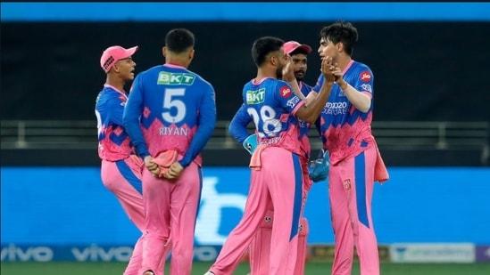 Rajasthan Royals players celebrate.