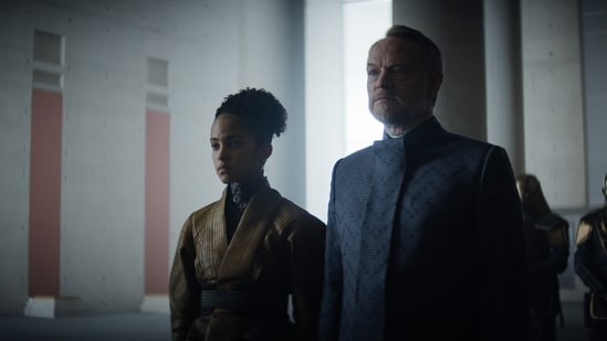 Foundation review: Jared Harris and Loe Llobell in a still from the new Apple TV+ show.