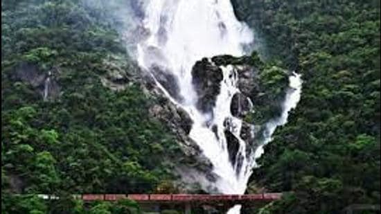 The Dudhsagar waterfalls --- a world-famous attraction lies in the heart of the Bhagwan Mahavir Wildlife Sanctuary in Mollem along Goa's border with Karnataka. The access to the waterfall is via a mud road that is unusable during the monsoons owing to the fast flowing swollen Dudhsagar River making it dangerous to cross. (FILE PHOTO.)