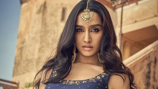 Shraddha Kapoor goes bold and traditional in navy blue crop top, brocade lehenga