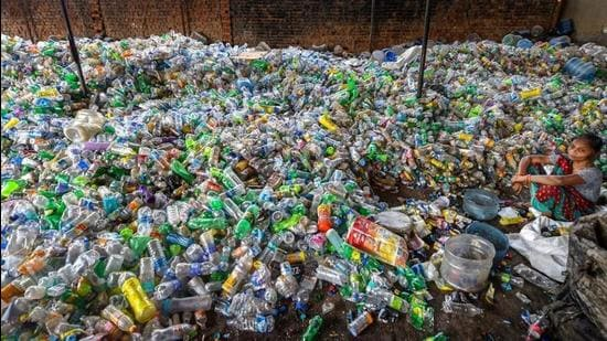 New Delhi: Plastic bottles segregated for recycling near Nand Nagri in Delhi. The three municipal corporations of Delhi have consistently fared poorly in the Swachh Bharat rankings by the ministry of housing and urban affairs. (PTI)