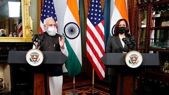 Prime Minister Narendra Modi and US vice president Kamala Harris at the White House.