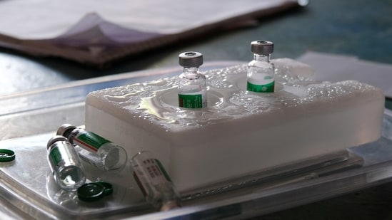 Vials of the Covishield Covid-19 vaccine at a vaccination camp set up in New Delhi.(Representational Image / Bloomberg)