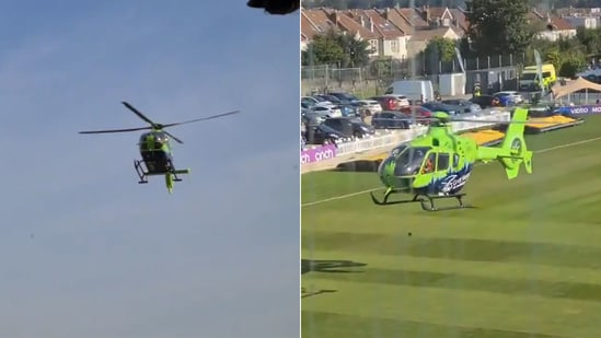 An air ambulance made an emergency landing forcing the players to go off the field.