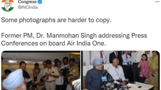 Congress took a jibe at PM Modi and posted old photos of Manmohan Singh addressing press conferences on Air India One.