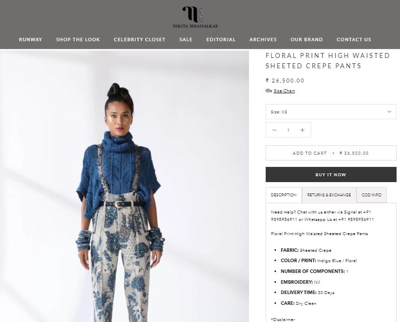 Genelia D'Souza's pants from Nikita Mhaisalkar(nikitamhaisalkar.com)