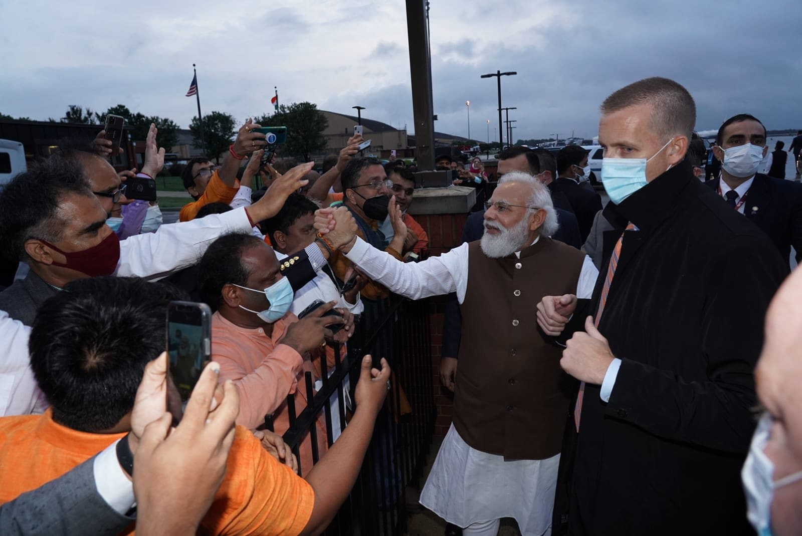 PM Modi greeting the members of the Indian-American community at the Joint Base Andrews airport in Washington, DC.(Twitter/@narendramodi)