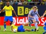 FC Barcelona's Frankie de Jong in action with Cadiz's Alvaro Jimenez(REUTERS)