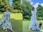 Soha Ali Khan's floral cheer in <span class='webrupee'>₹</span>5k A-line kurta, palazzo aces ultra glam(Instagram/sakpataudi)
