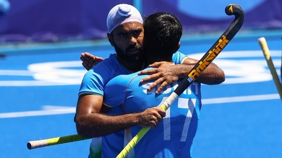 Simranjeet Singh of India celebrates with teammate Sumit of India during Tokyo Olympics: File photo(REUTERS)