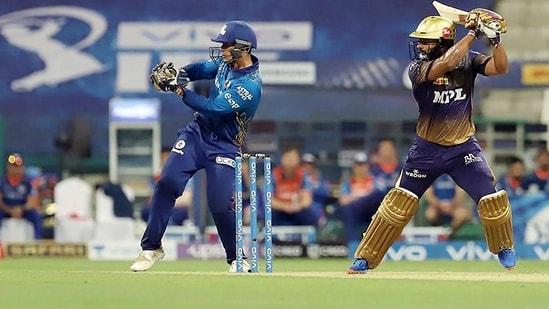 Rahul Tripathi of Kolkata Knight Riders plays a shot during(ANI)