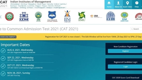 CAT 2021 application correction window to open tomorrow at iimcat.ac.in