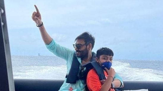 Ajay Devgn has shared a pic with Yug from their recent Maldives vacation.