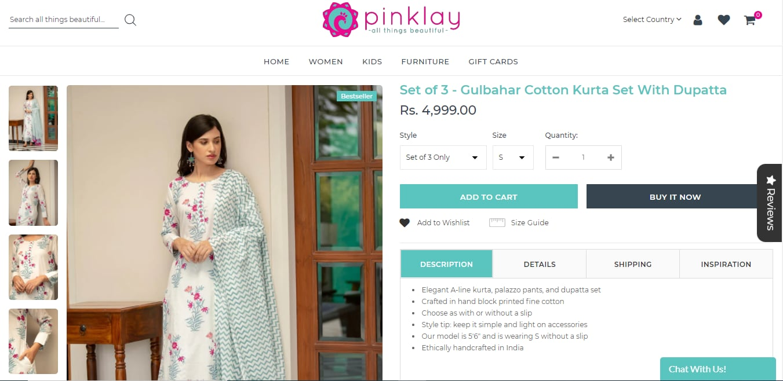 Soha Ali Khan's kurta set from Pinklay(pinklay.com)