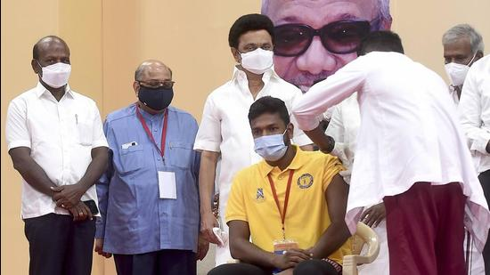 Till date, 44.1 million people have been inoculated, including the 2.5 million who received the vaccines in private hospitals in Tamil Nadu, health minister Subramanian said. (PTI)
