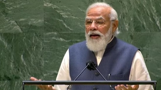 Prime Minister Narendra Modi speaking at the United National General Assembly on Saturday.