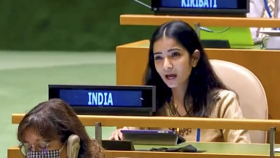 First Secretary Sneha Dubey at the United Nations General Assembly (UNGA) session. (Image posted by @IndiaUNNewYork on Twitter)