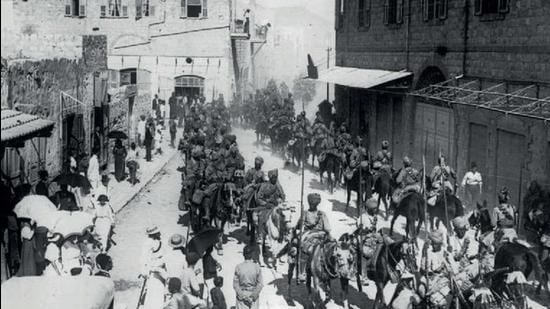The Mysore Lancers march through Haifa after it was captured during World War 1. (Agencies)