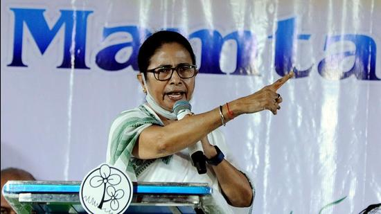 West Bengal chief minister Mamata Banerjee during an election campaign for the upcoming Bhabanipur bypoll, in Kolkata on Saturday. She said the Centre had disallowed her attendance at a global peace meet in Rome. (ANI)