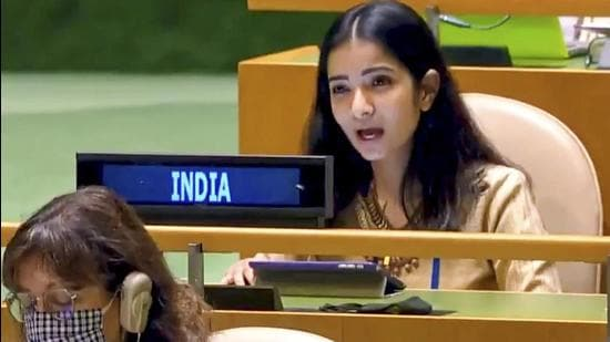 India fielded a young woman diplomat – Sneha Dubey, the first secretary at the mission to the UN in New York – to exercise the right of reply to respond to allegations made by the Pakistani premier at the General Assembly. (HT PHOTO.)
