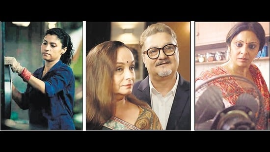 (Left to right) Konkona Sen Sharma is a gay Dalit woman in the masterful Geeli Pucchi. Soni Razdan and Vinay Pathak in the unin-spiring Kaali Peeli Tales. Shefali Shah in Juice (2017), a film that still stands out for how keenly it understood the grammar of shorts.