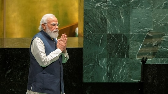 Prime Minister Narendra Modi spoke about Covid-19, Afghanistan, and other ongoing matters at the 76th session of the UN General Assembly. (REUTERS/Eduardo Munoz/Pool)