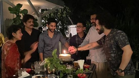 Nagarjuna and his family with Aamir Khan.