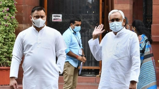 RJD leader Tejashwi Yadav (left) had accompanied Bihar chief minister Nitish Kumar (right) as part of a delegation that the latter led in New Delhi on August 23 and met PM Narendra Modi seeking caste census in 2022. (PTI Photo)